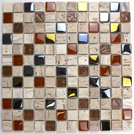 bathroom mosaic in glass and stone Mosaico Malika