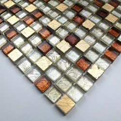 Glass and stone mosaic sample shower Siam