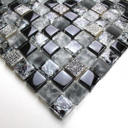 Glass and stone mosaic sample for shower Shiro