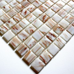 Glass mosaic sample for italian shower Vitro Blanc