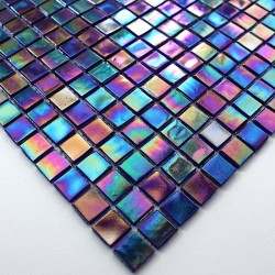 Glass mosaic sample for italian shower rainbow petrole