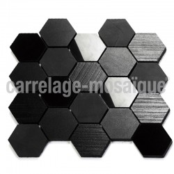 Mosaique douche italienne Carbone Hexagonal