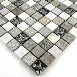 Glass and stone mosaic sample for shower Swiri