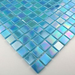 Glass mosaic sample for italian shower Rainbow Azur