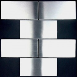 Stainless steel mosaic splashback kitchen brique150