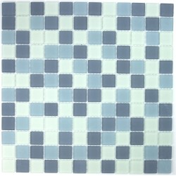 Glass mosaic shower Mat gris
