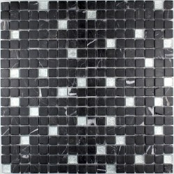 Shower mosaic Nero Silver