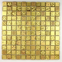 Mosaique carrelage douche cuisine metallic Gold