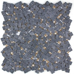 Stone mosaic shower bathroom Lulli Noir