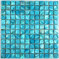 Mother of pearl mosaic nacre bleu shower